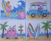 "4 Surf's up Aloha  Malibu Pink Surf Island Kids girls Art Prints 8x10""each"