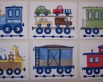train nursery art, train artwork, boys nursery wall art, train engine art prints