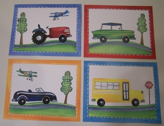 Transportation art, car truck tractor art prints, vintage nursery wall art, boy nursery art, school bus airplane art prints