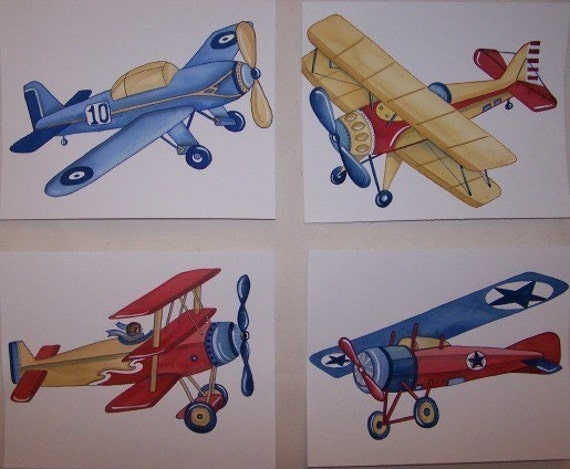 Vintage AIRPLANES  planes little aviator kids ART PRINTS set of 4 prints