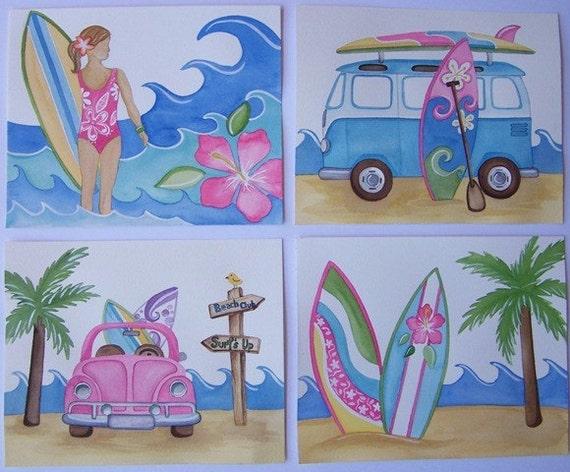 surf art prints, girl surf art, girl nursery decor, surfing bedroom wall art, surfing pictures for girls, surf