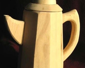 Toy All Wood Tea Pot With Lid Just Right Size