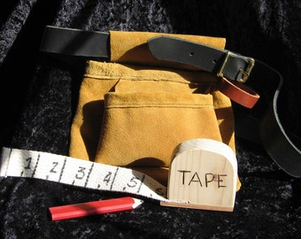 Toy Leather Tool Belt  W/Tape & Pencil   Just Right Size
