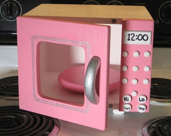 Toy All Wood Microwave Just Right Size Pink/White/Silver