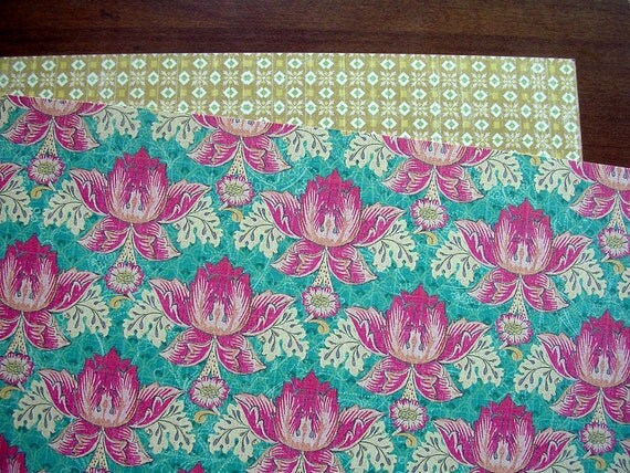 Pink Pond Flowers Scrapbook Paper - 12inchX12inch - 1 Sheet - 2 Sides - KC&Company