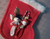 "SALE   Vintage/Antique Christmas Stocking with Chenille Snowman ""couple"""