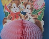 Vintage Easter Greeting Card w/ Honeycomb Tissue Foldout
