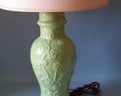 Vintage Green  Lamp with Floral Decor