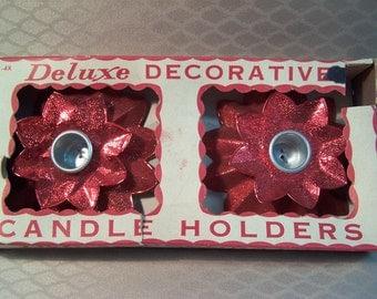 Vintage Foil Decorative Tin Poinsettia Candle Holders