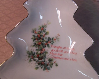 Porcelain  Tree Shaped Tray with Verse of Christmas Cheer