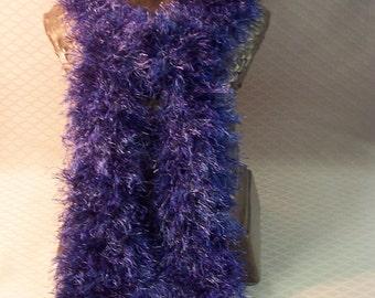 Hand Knit Fun Fur Scarf