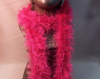 Hand Knit Hot Pink Scarf