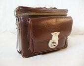 Vintage KamKat Camera Case (Brown Leather) Repurposed as All Purpose Bag, 1940s
