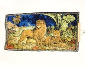 Vintage Lion Pride Landscape Italian Tapestry Wall Hanging (White, Green, Blue, Taupe, Brown), 1960s