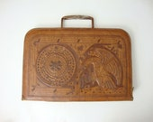 Vintage Hand Tooled Mexican Top Grain Cowhide Leather Attache (Brown)