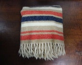 Vintage Loomed Striped Wool Throw (Taupe, Cream, Red, Blue)