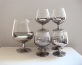 Vintage Silver Dipped Ombre Cocktail Set w/ Footed Decanter Set with Six Footed Glasses (Smoke, Silver, Clear Glass)