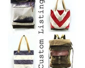 Custom - Canvas & Leather City Market Tote in Hand Dyed Chevron Stormy Weather (Grey, Purple, Lavender, Cream, Olive, Brown), Dualist Series
