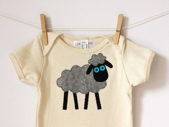 Black Sheep  Appliqued Organic American Apparel Onesie