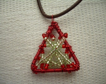 Wire and Beads - Red\Green Necklace