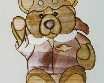 Handmade custom wooden Aviator teddy bear wall plaque