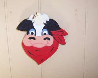 Handmade custom painted wooden cow with bandana plaque