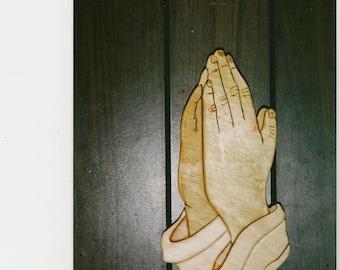 Handmade custom wooden praying hands wall hanging