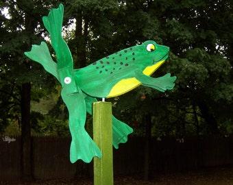 Handmade Wooden Frog Garden Whirligig