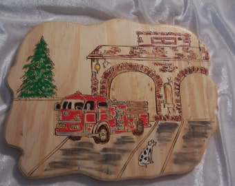 handmade Woodburned Fire Truck Scene