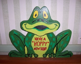 "Handmade Wooden Have a ""Hoppy"" New Year frog"