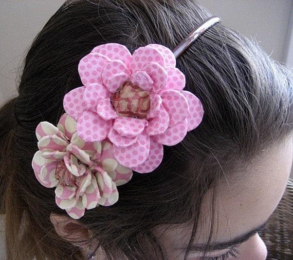 Sweet Pink Daisies Paper Mache Headband
