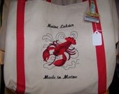 canvas bag made in Maine-Maine Moose, Maine Lobster, Maine Chickadee,Maine Loon,Maine Pine cone
