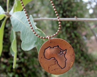 Hand stamped copper Africa, China, Russia, Haiti or Ukraine necklace