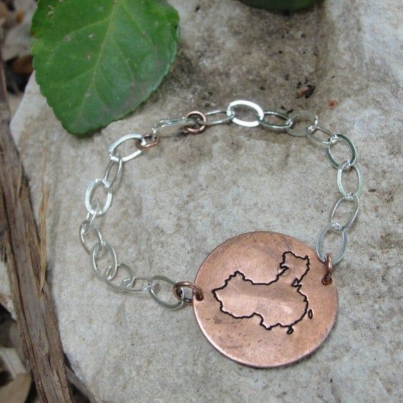 Africa, Guatemala, China, Russia or Ukraine hand stamped copper bracelet