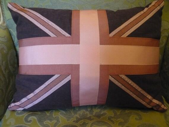 Vintage Grosgrain Ribbon Union Jack Linen Pillow