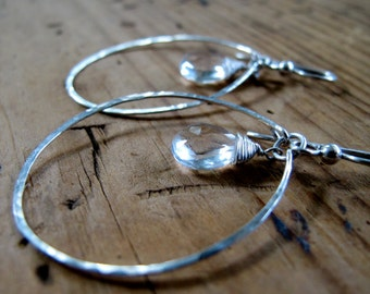 "Thin Silver Hoop Earrings with Crystal Quartz / Teardrop Oval Sterling Silver Hoops - Delicate Quartz Earrings / ""Perfect Clarity Hoops"""