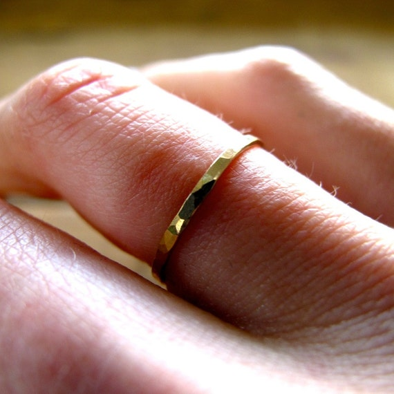 "Thin Gold Ring / Gold Stacking Ring Set / 14K Gold Filled Thin Hammered Ring / Gold Knuckle Ring / Gold Stack Ring Set / ""Pretty Girl Ring"""