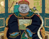 Emperor Cat of China and His Three Advisors. Illustration, hand drawn. Limited prints