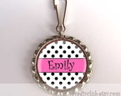 Personalized Zipper Pull Luggage Tag Backpack Charm - Hot Pink Black Polka Dot - children accessories, kids birthday party favors