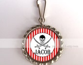 Pirate Birthday Party Favors - Personalized  Backpack Zipper Pull Charms - Red and white stripes or custom color