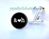 Personalized Wedding Cuff links Custom Initials Heart Date Black and White Custom color - Groom Gift, Personalized Cufflinks