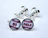 Baseball Cufflinks Custom Personalized Cuff Links Custom Name Initials - unique gift for baseball players, men, fathers day gift