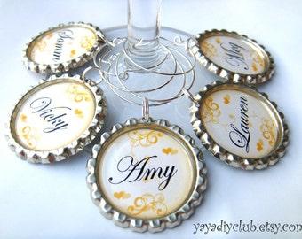 Bridesmaid Wine Glasses Charms for Bridal Shower Favors, Bachelorette Party Favors, Wedding Favor - Orange Color Swirls Hearts,custom color