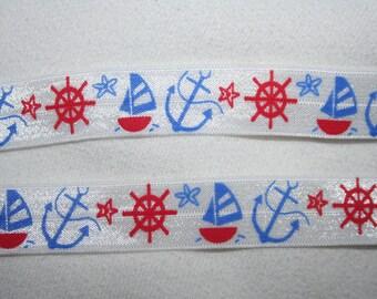 1, 4, or 10 yards White Red Blue Nautical Sailboat anchor 5/8 shiny baby headband Bow Ribbon Hair Ties FOE stretch foldover elastic