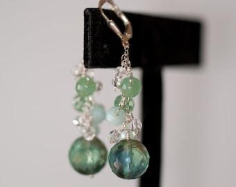 Green seafoam earrings, Green aventurine fluorite amazonite sterling silver dangle earring