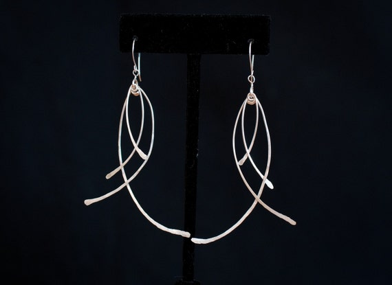 Small silver feather earrings