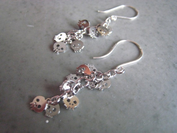 Silver skull earrings, mini skull earrings, long silver skull earrings