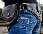 Steampunk Leather Hip Belt Bag with Cat's Eye Stone
