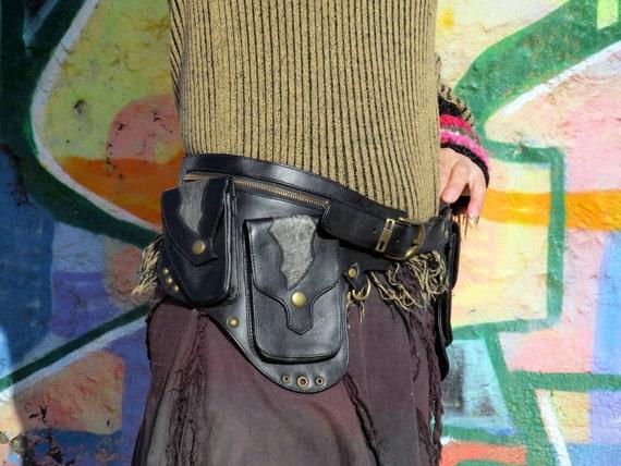 Leather Gunslinger Utility Belt Bag Steampunk Dieselpunk Holster
