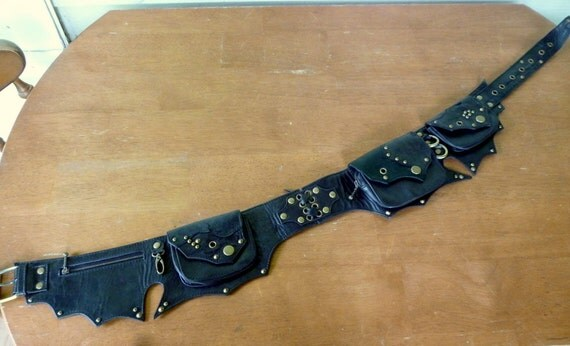 Black and Antique Brass Steampunk Leather Hip Belt Bag